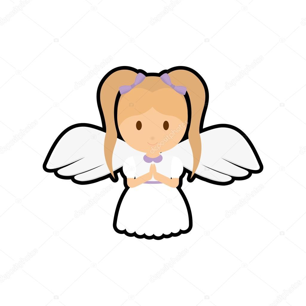 1024x1024 Girl Kid Angel Cartoon Icon Stock Vector Djv