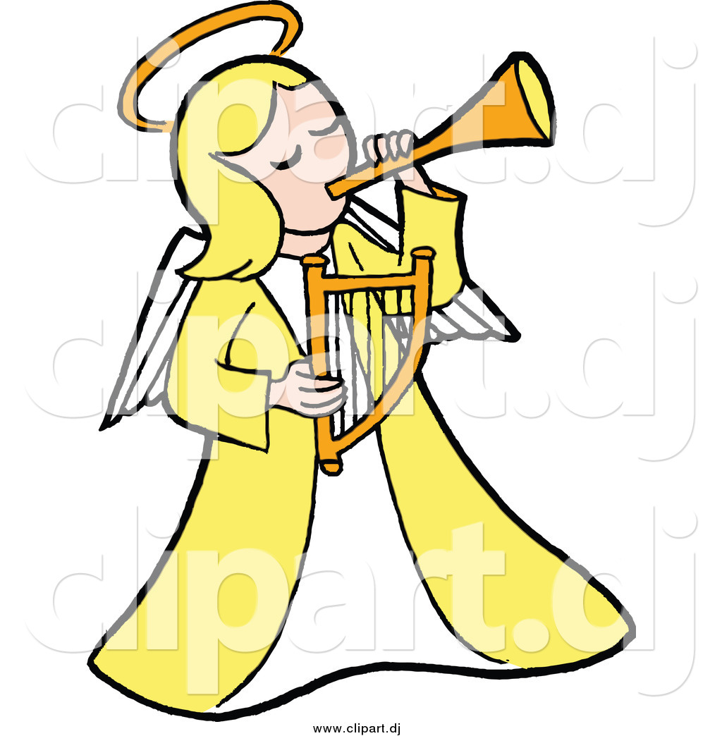1024x1044 Cartoon Vector Clipart Of Blond Whitengel In Yellow Playing