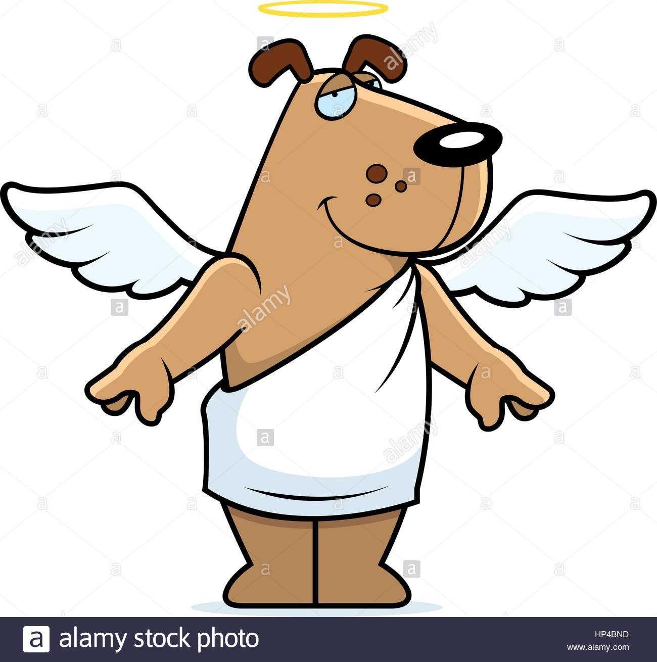 1300x1310 A Happy Cartoon Angel Dog With Wings And A Halo Stock Vector Art