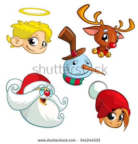 450x470 Set Of Christmas Characters. Vector Cartoon Icons Of Santa Claus
