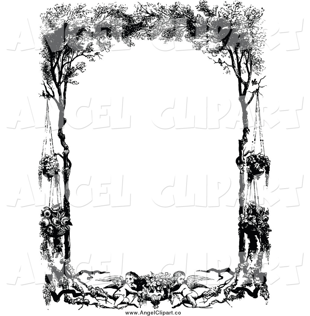 1024x1044 Clip Art Of A Vintage Black And White Frame Of Cherubs Hanging