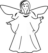 154x170 And White Angel Outline Clipart