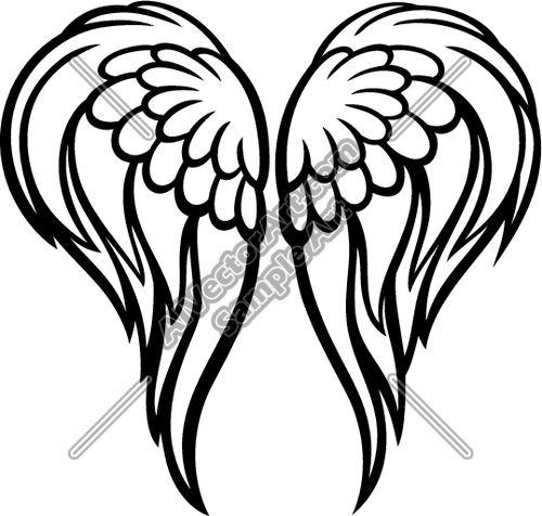 500x476 Boy Angel Wings Clipart Black And White