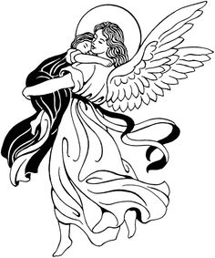 236x283 Angel Black And White Clip Art