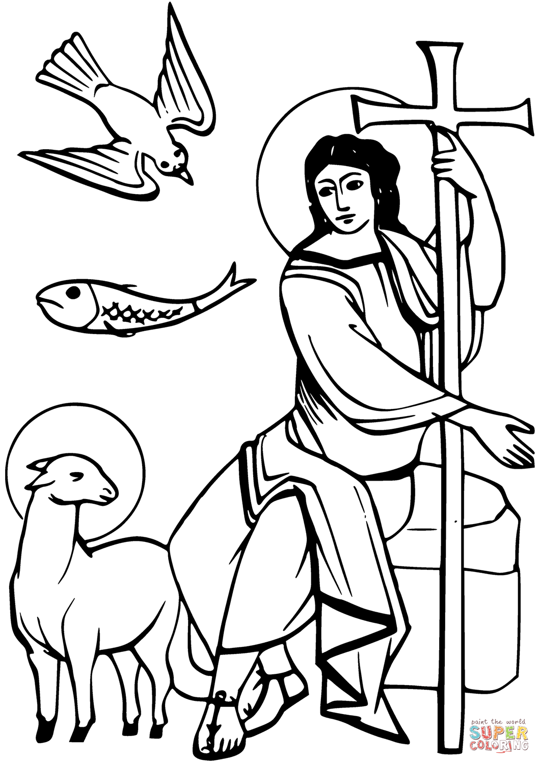 1060x1500 Dove, Ichthus, Lamb Of God, And Angel Coloring Page Free