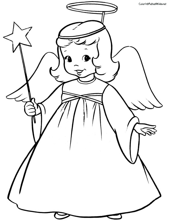 603x779 Free Angel Coloring Pages , , Cute Angel