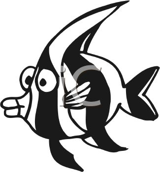 325x350 Black And White Cartoon Angel Fish