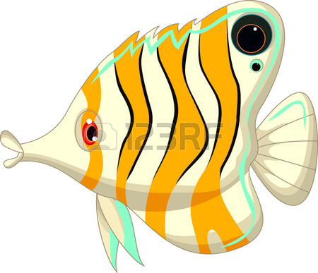 450x387 Cute Black And White Angel Fish Clip Art Isolated On White