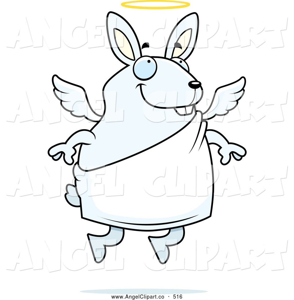 1024x1044 Clip Art Of A Coloring Page Of A Flying Angel Rabbit With A Halo