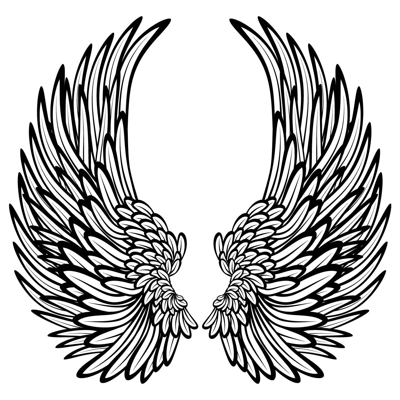 1280x1280 Angel Wings With Feathers Wall Stickers Wall Decals Angel