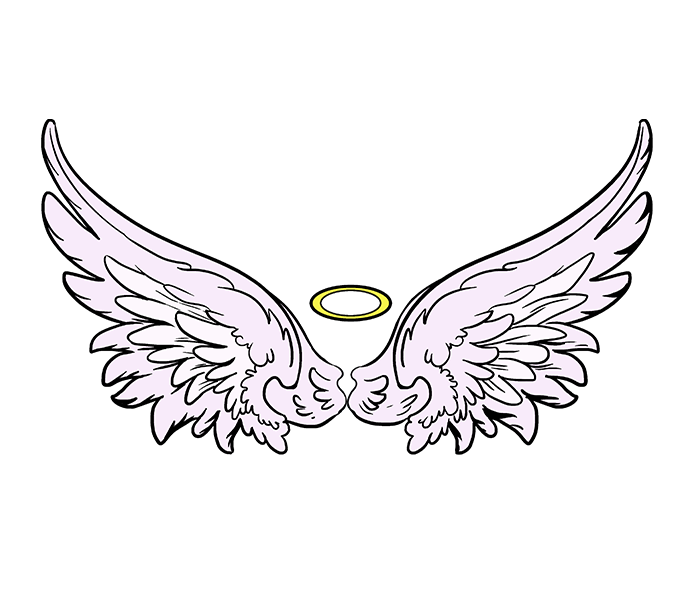 678x600 How To Draw Angel Wings In A Few Easy Steps Easy Drawing Guides