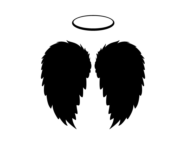 792x612 Black Angel Wings And Halo Vector, Png And Jpgs Included Black