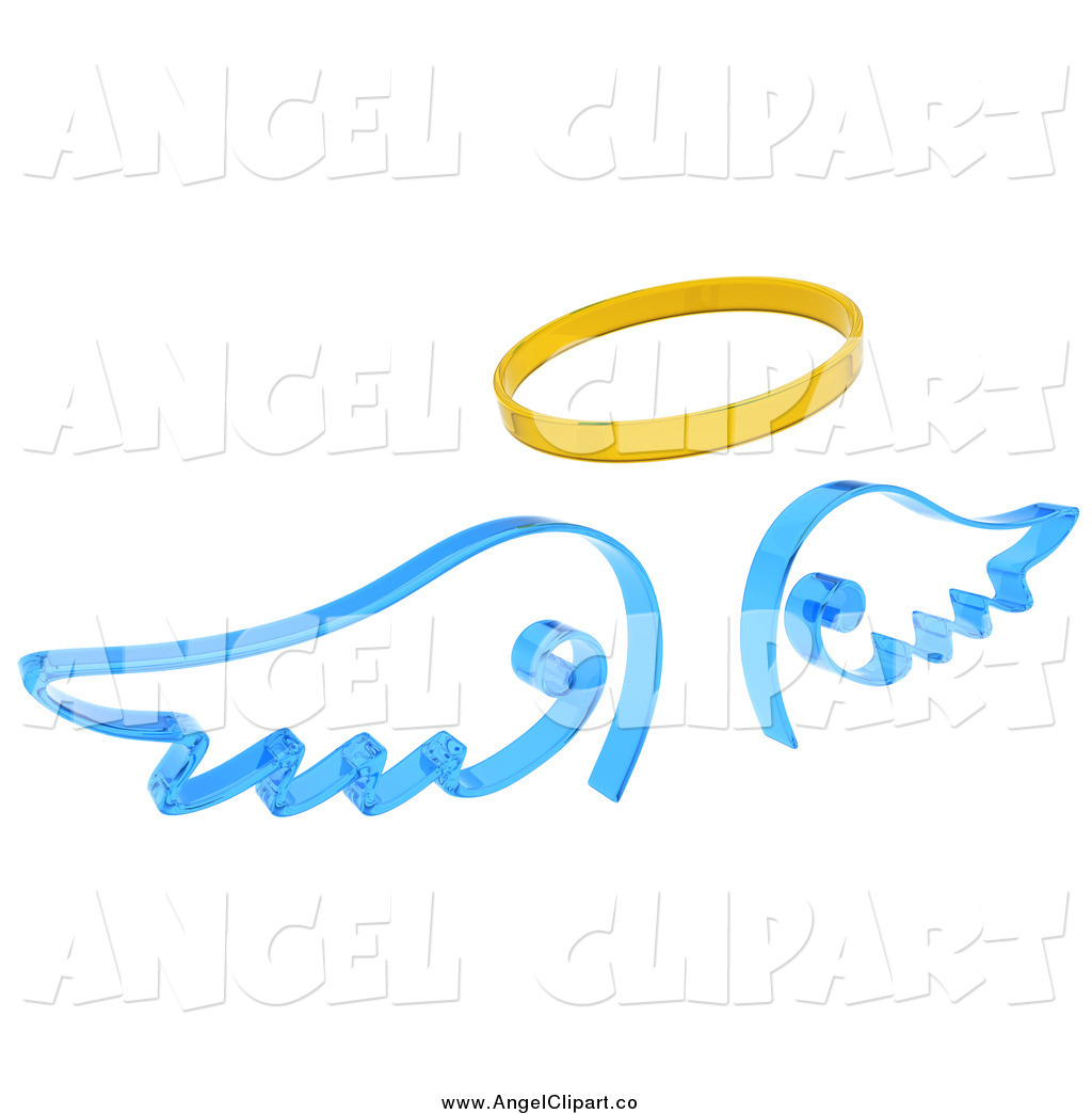 1024x1044 Clip Art Of A 3d Blue Angel Wings And A Gold Halo By Kj Pargeter