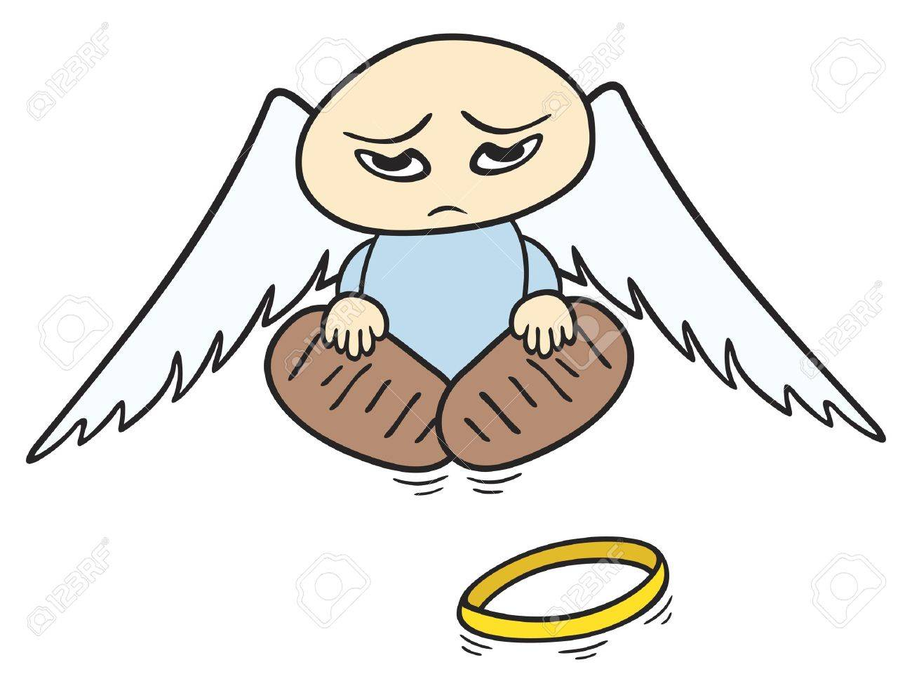 1300x987 Little Sad Angel With Broken Halo On The Ground Royalty Free