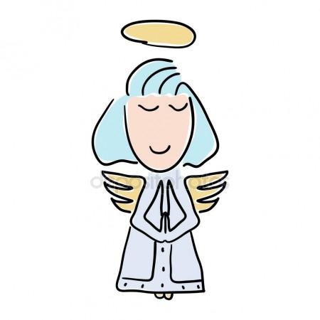 450x450 Vector Illustration Of A Cartoon Style Little Angel With A Halo