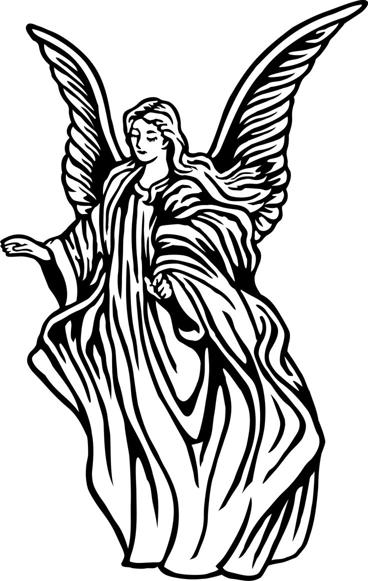 Angel Line Art Clipart