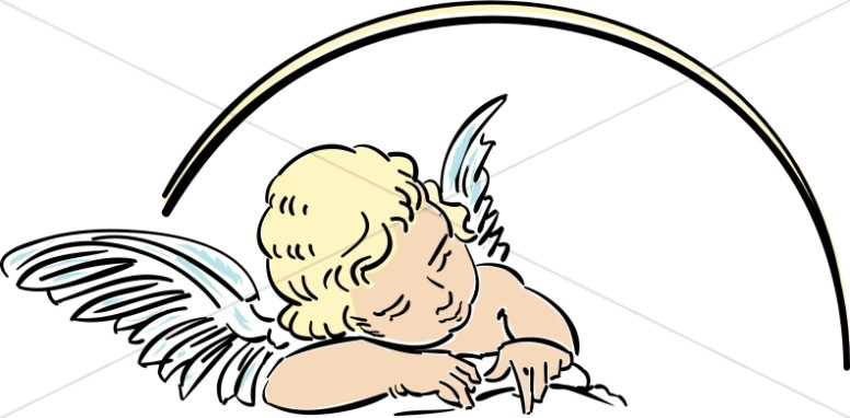 776x382 Angel Clipart Line Art
