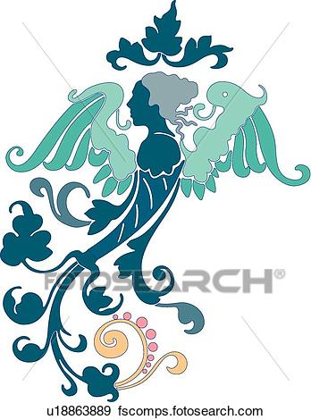 348x470 Clip Art Of Side View Of An Angel U18863889