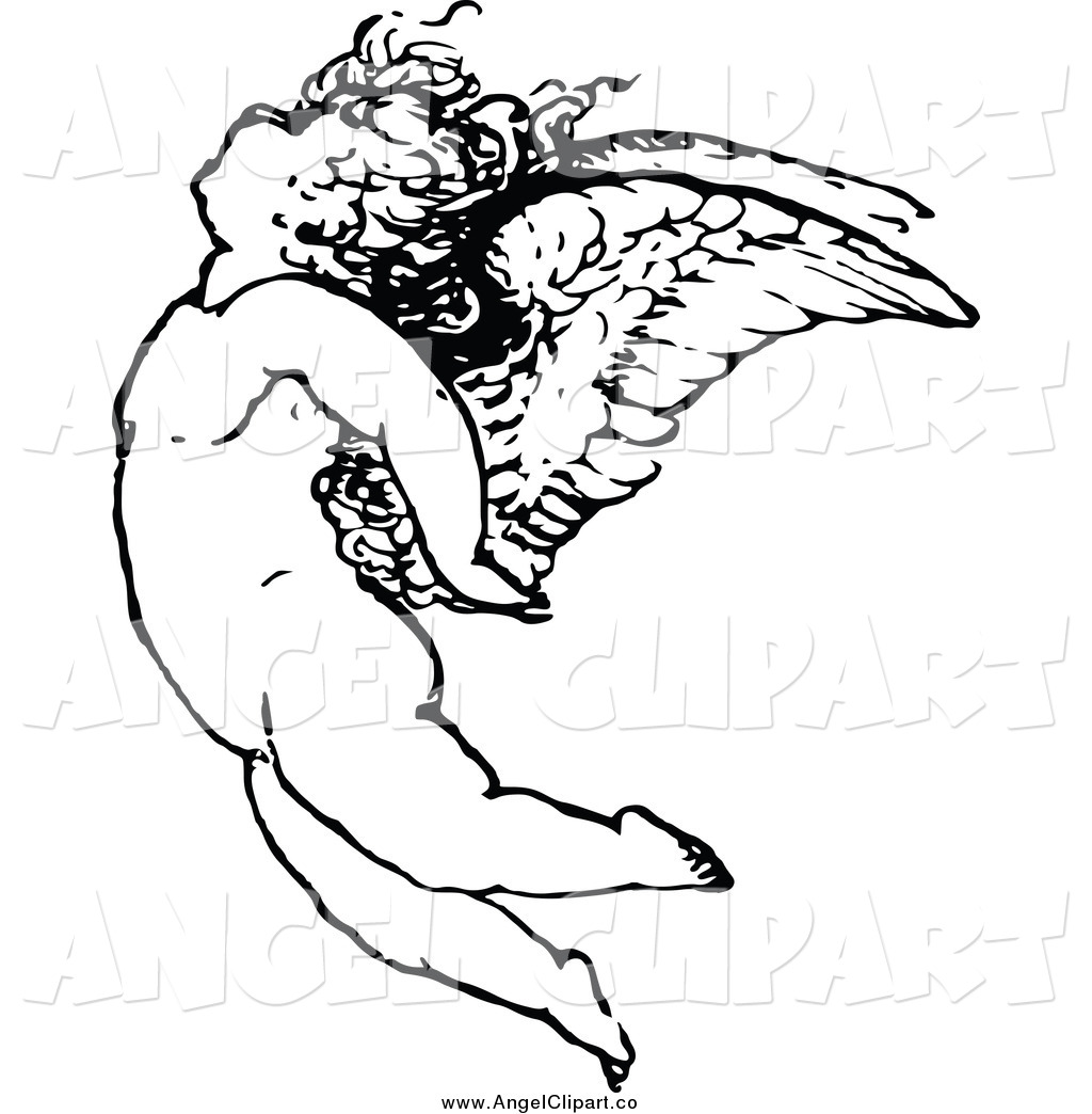 1024x1044 Clip Art Of A Black And White Angel Flying By Prawny Vintage