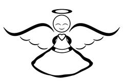 Angel simple. Line art clipart free