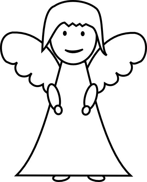 486x600 Angel Outline Drawing