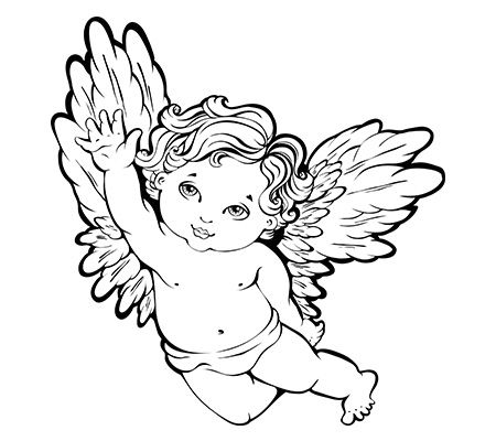 450x400 Black Outline Baby Angel Tattoo Stencil
