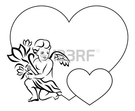 450x371 Elegant Frame In Shape Of Heart With Outline Angel With Flowers