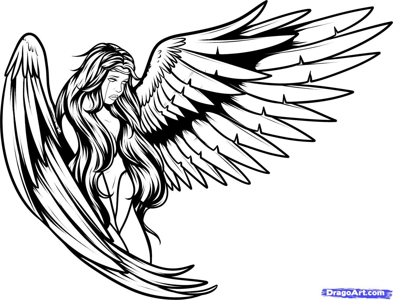 1300x994 Fallen Angel Clipart Outline