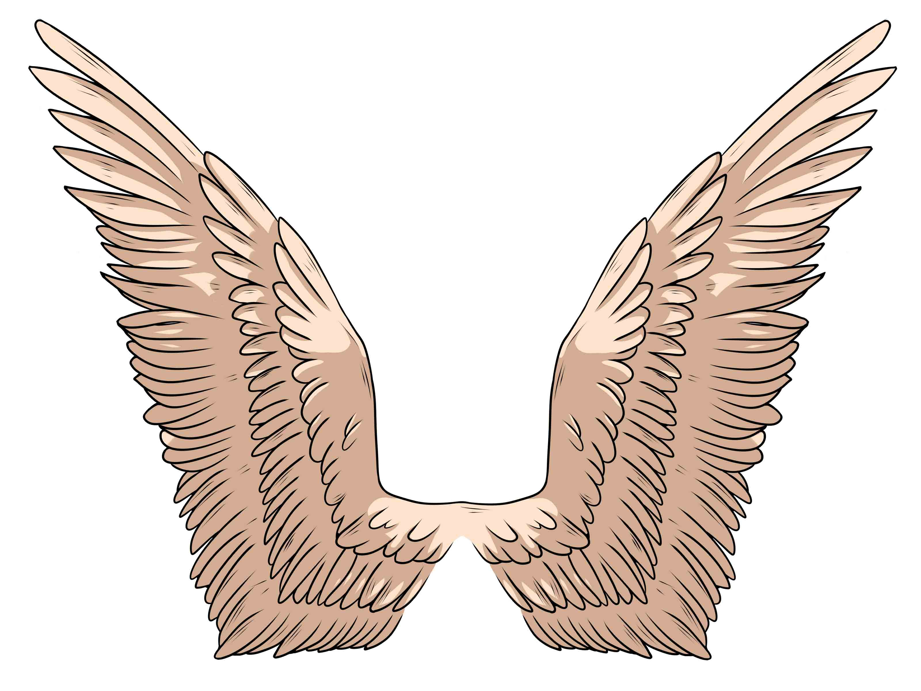3200x2400 Easy To Draw Angel Wings Easy Angel Wing Drawings