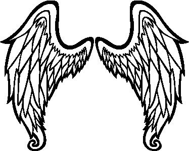 374x299 Outline Of Angel Wings Wall Art Sticker