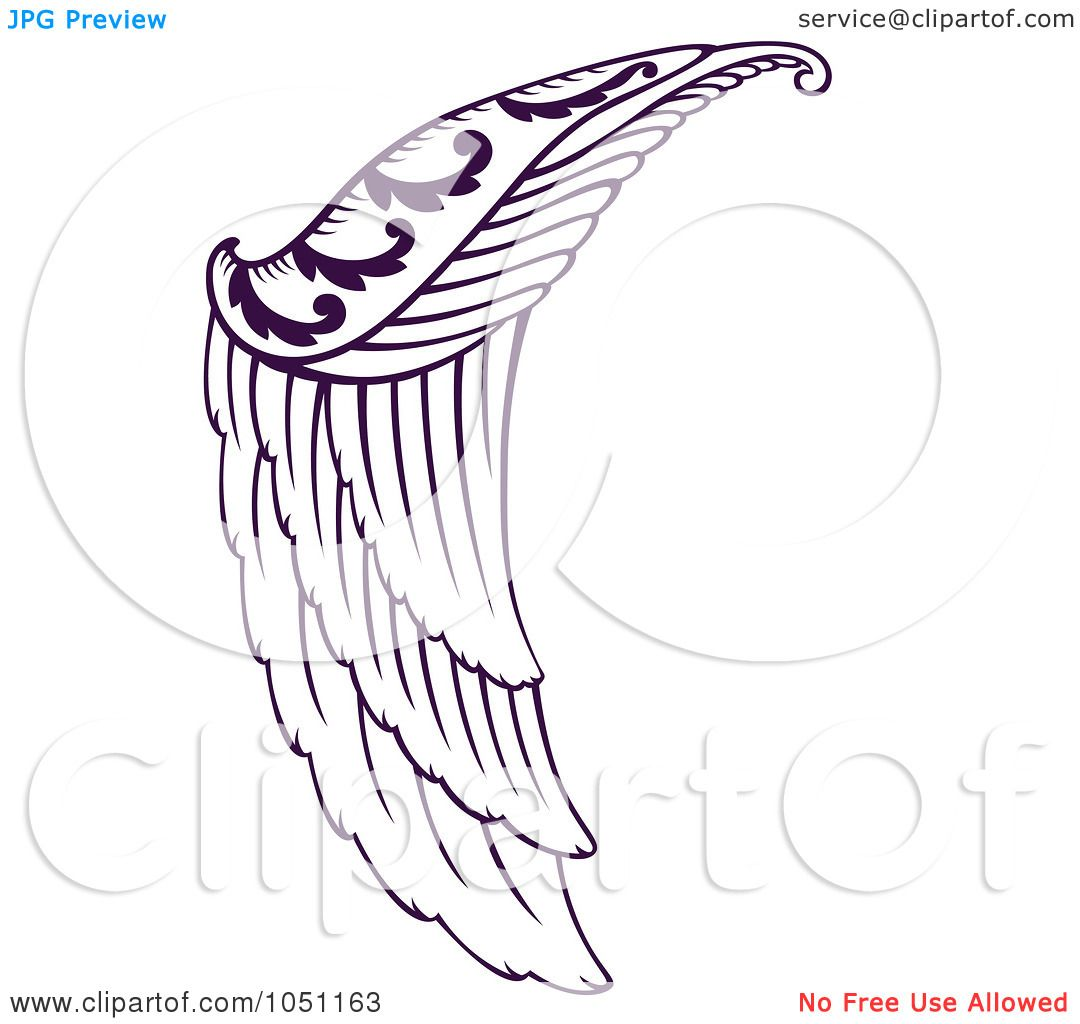 1080x1024 Royalty Free Vector Clip Art Illustration Of A Purple Angel Wing