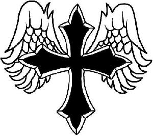 300x267 Angel Wings With Cross Clip Art
