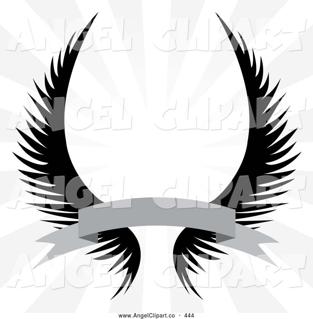 1024x1044 Clip Art Of A Set Of Spooky Gothic Angel Wings With A Banner Over