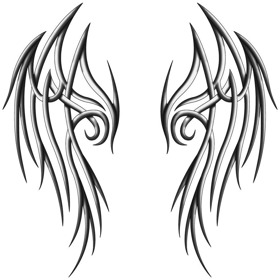 900x900 Tribal Angel Wings