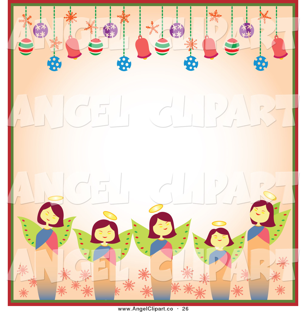 1024x1044 Clip Art of a Border of Christmas Angels and Christmas Bulbs with