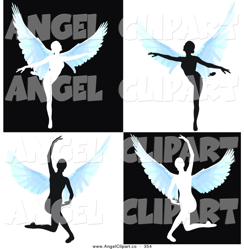 1024x1044 Clip Art of a Digital Set of Silhouetted Angels Dancing by MacX