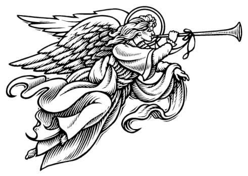 491x349 Angel With Horn Clipart (34+)