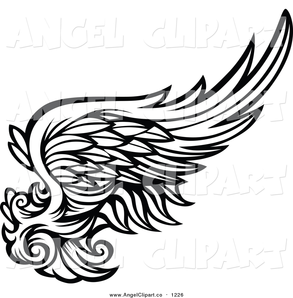 1024x1044 Clip Art Of A Black And White Feathered Angel Wing By Chromaco