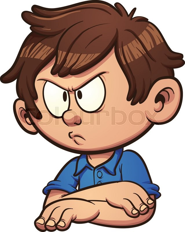639x800 Angry Cartoon Boy. Vector Clip Art Illustration With Simple