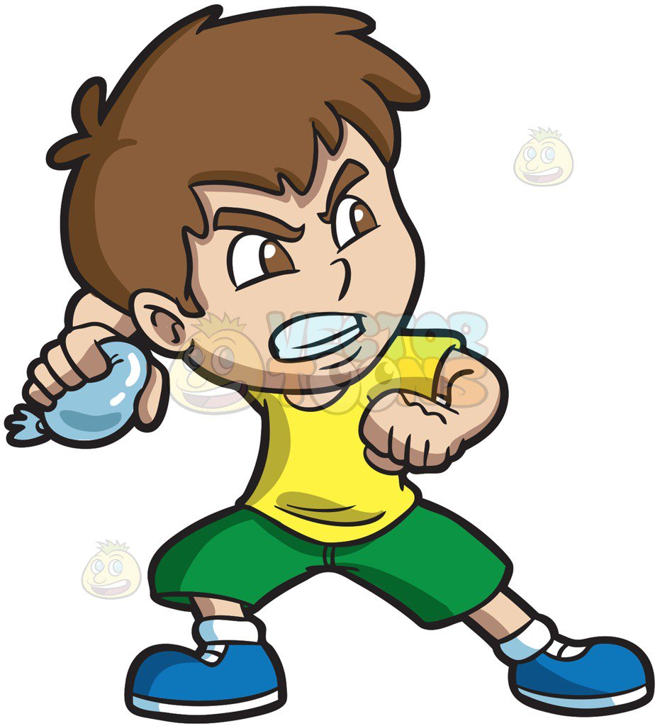 924x1024 An Angry Boy Throwing A Water Balloon Cartoon Clipart