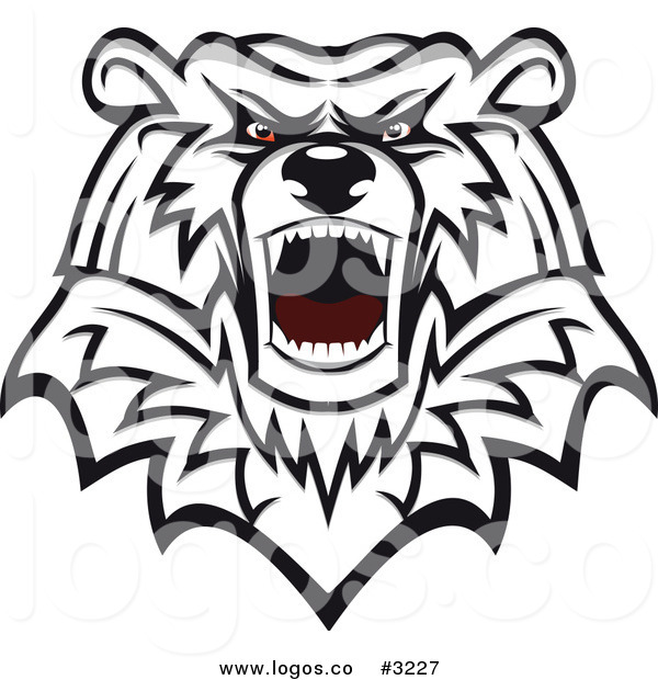 600x620 Royalty Free Vector Of An Angry Mad Polar Bear Head Logo By Vector