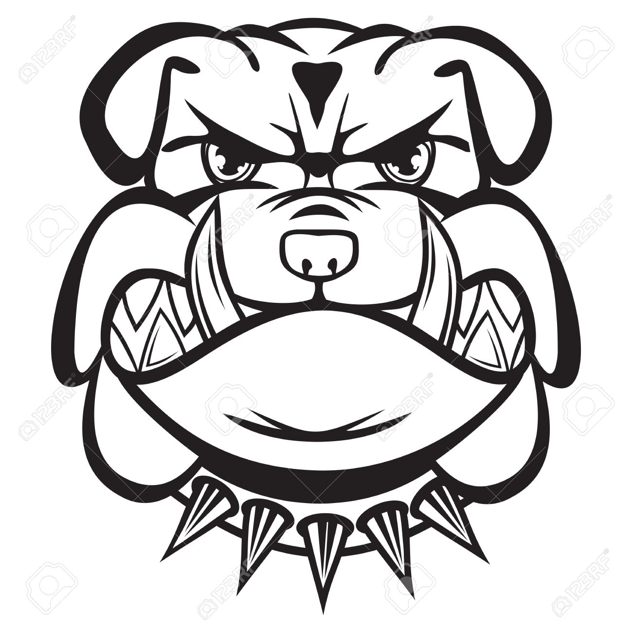 1299x1300 Angry Bulldog Head Black And White Royalty Free Cliparts, Vectors