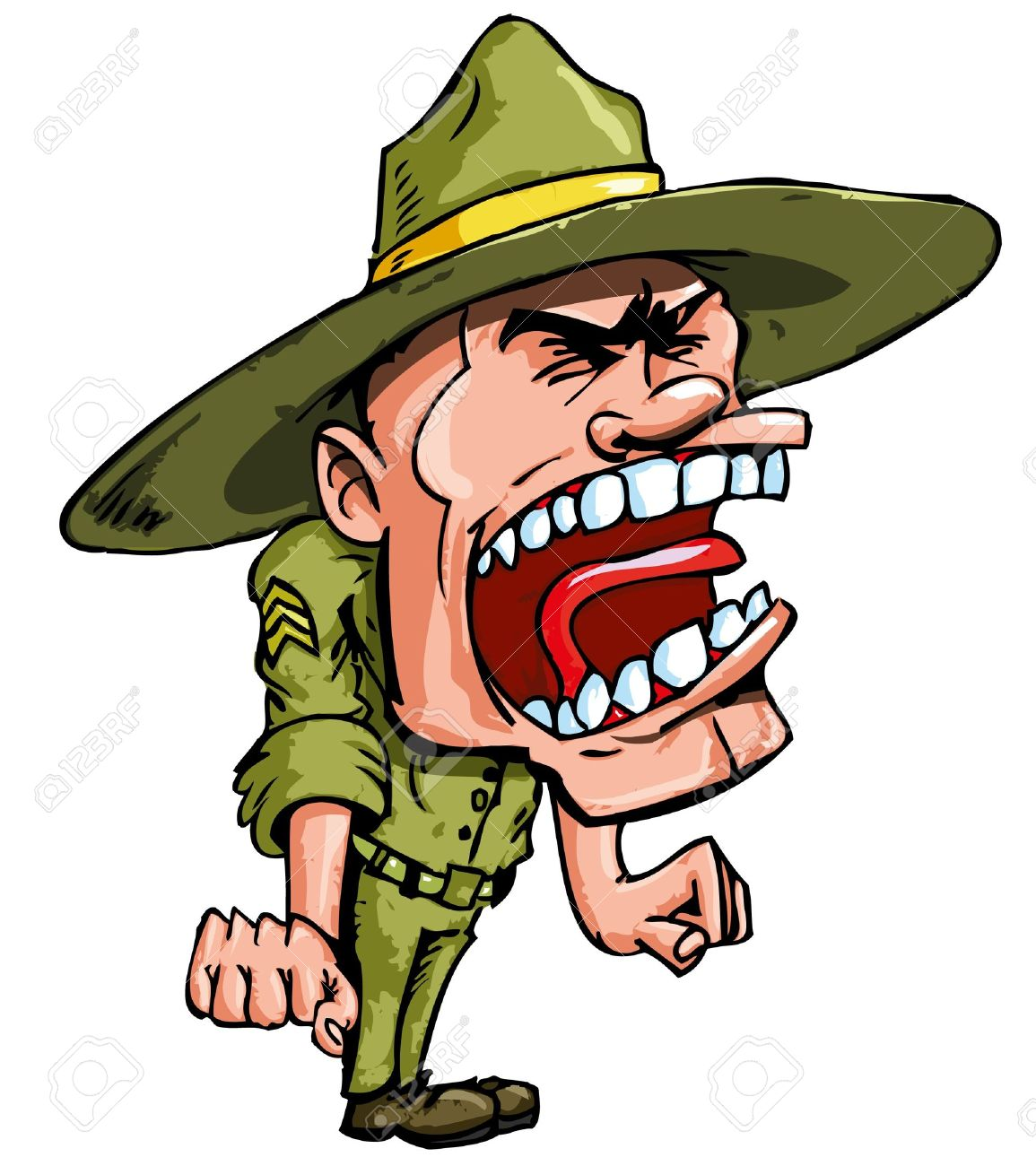 1155x1300 Angry Cartoon Drill Sergeant Screaming In Anger Royalty Free