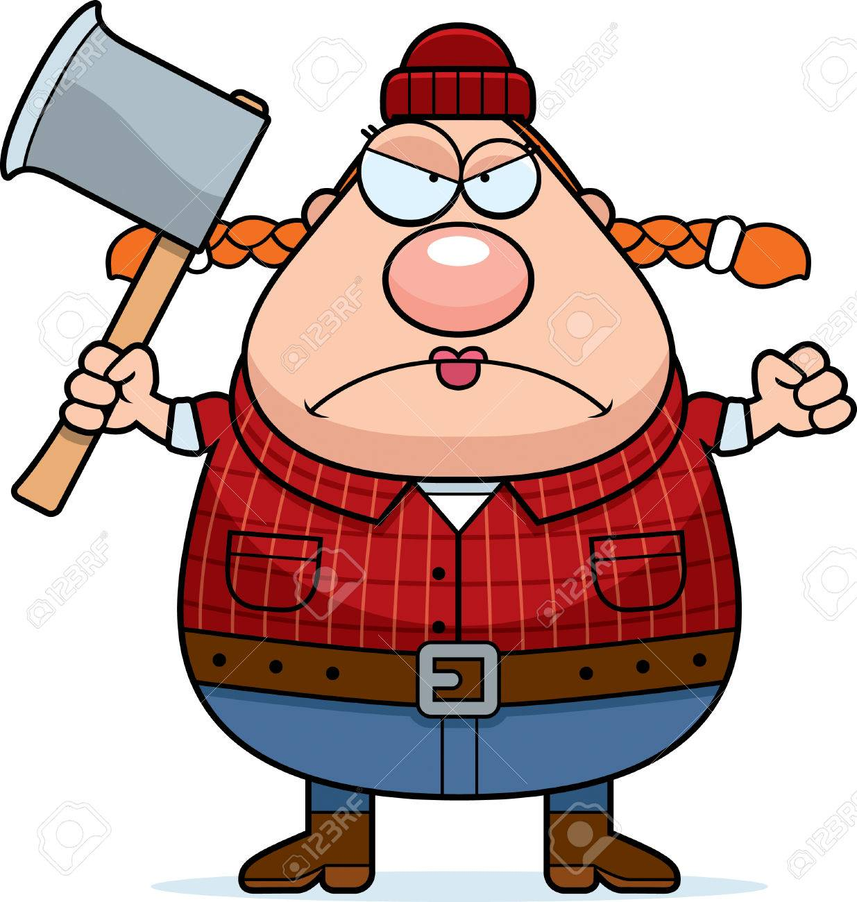 1235x1300 A Cartoon Illustration Of A Woman Lumberjack Looking Angry