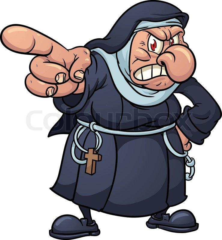 739x800 Angry Cartoon Nun Pointing Finger Stock Vector Colourbox