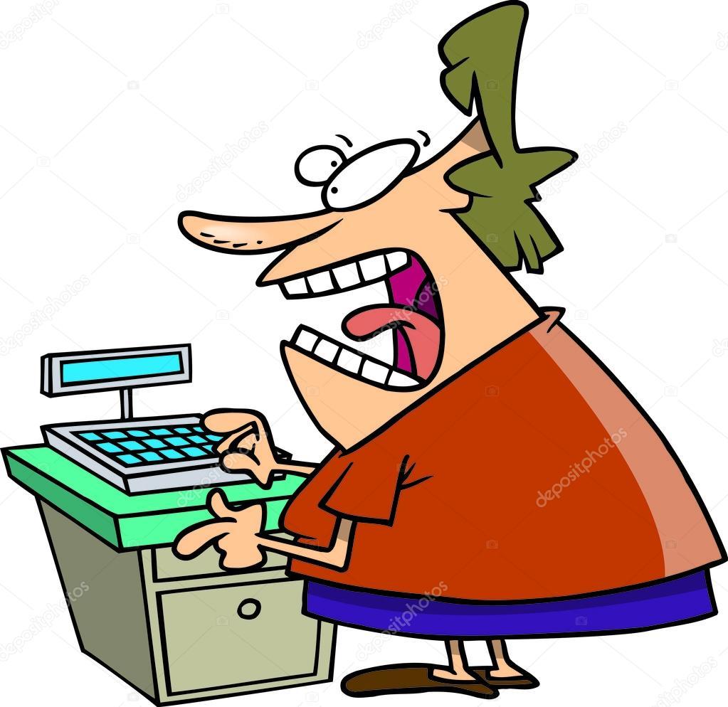 1023x994 Cartoon Angry Cashier Stock Vector Ronleishman