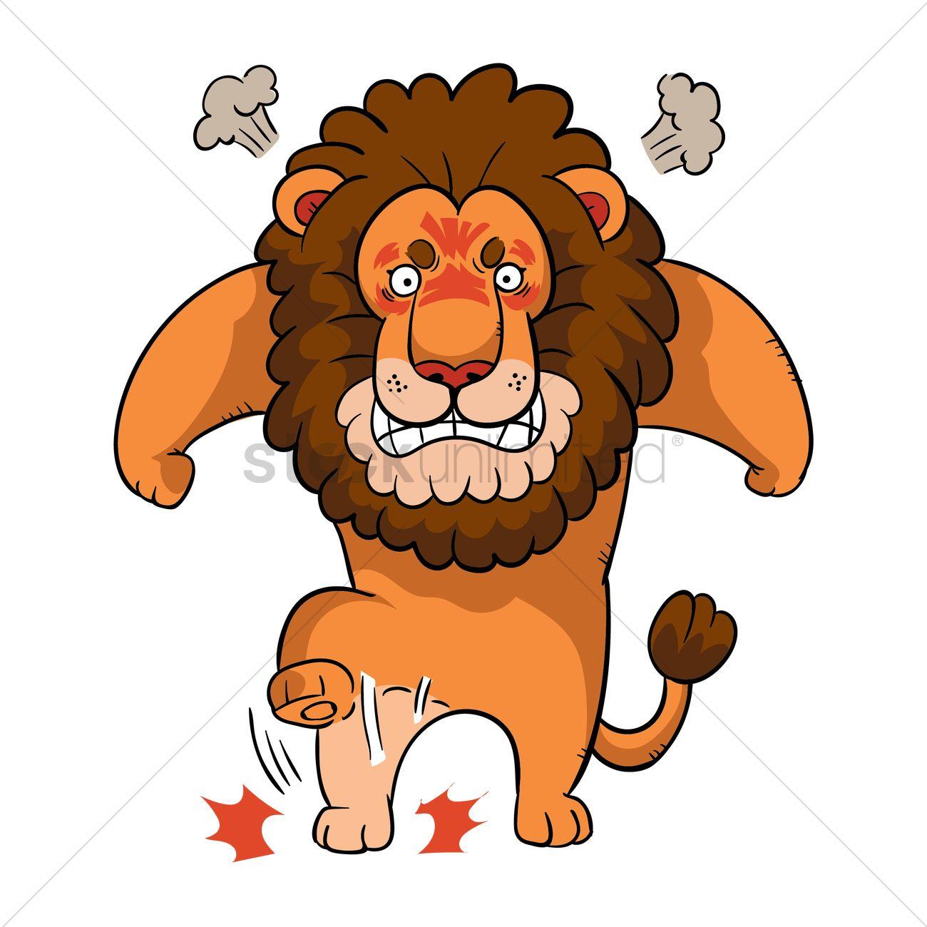 1300x1300 Cartoon Lion Feeling Angry Vector Image