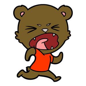 300x300 Angry Bear Cartoon Running Royalty Free Stock Image