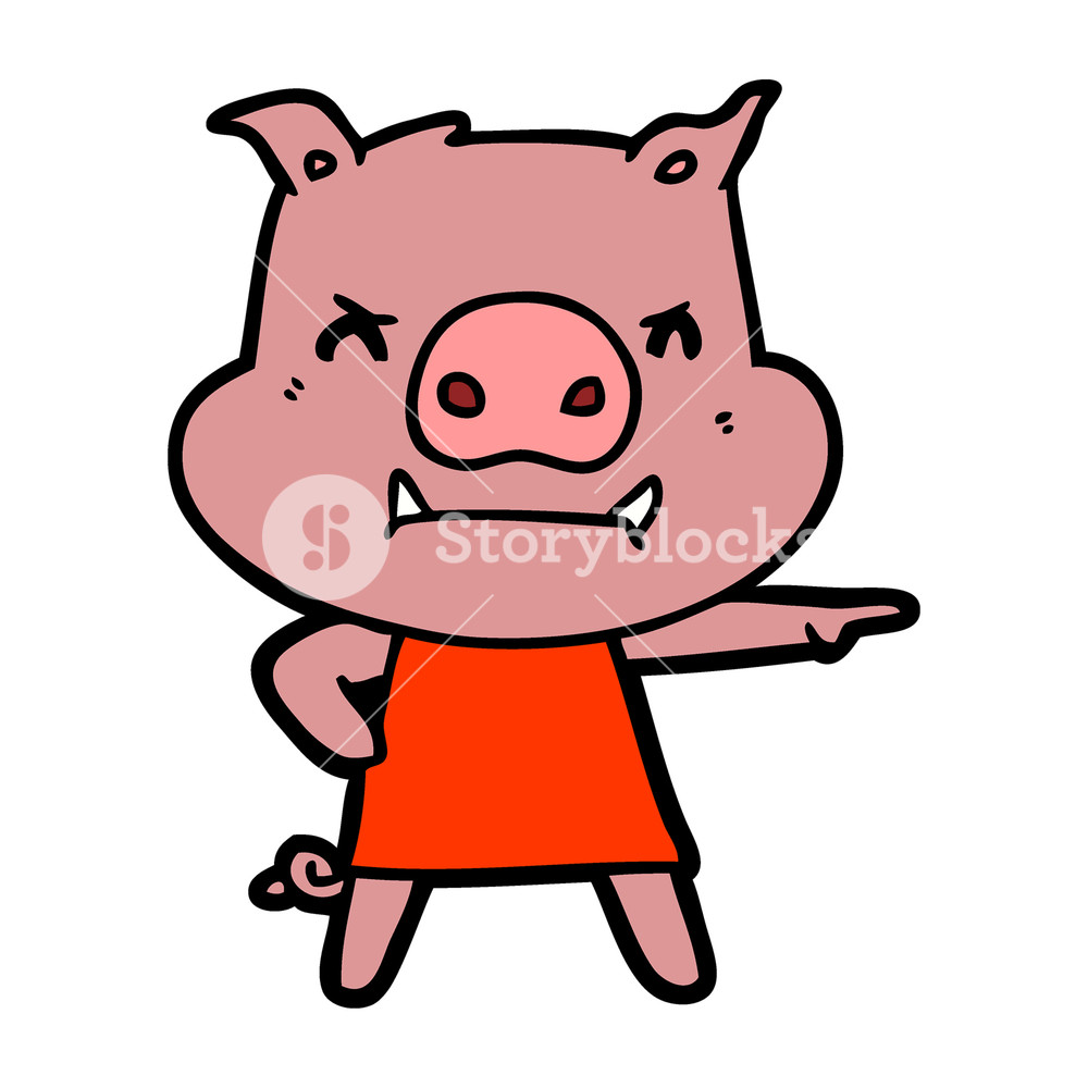 1000x1000 Angry Cartoon Pig In Dress Pointing Royalty Free Stock Image