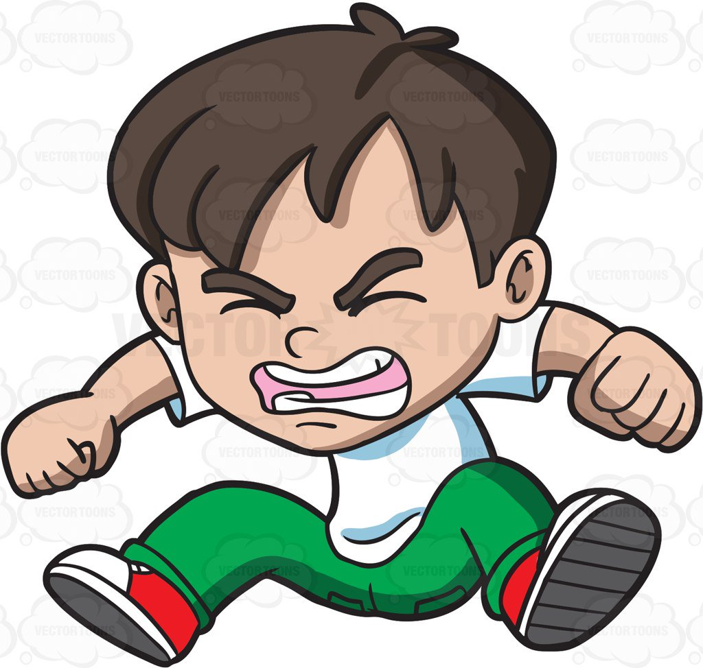 1024x974 An Angry Little Boy Jumping In Frustration Cartoon Clipart